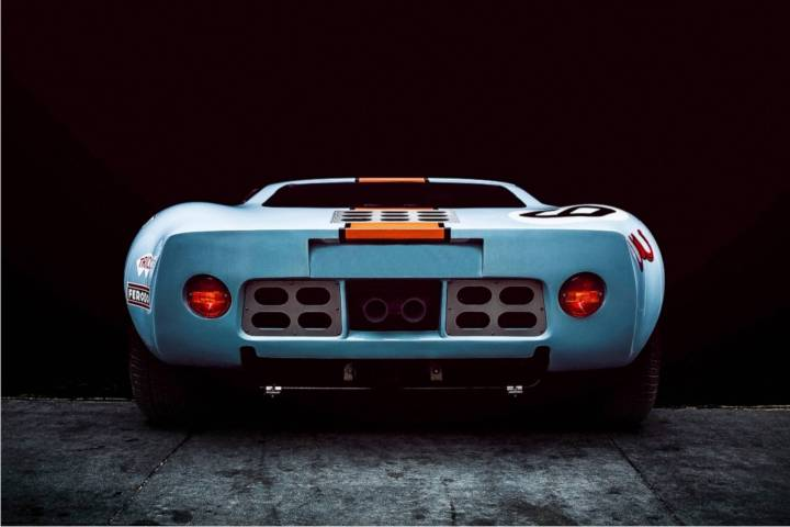 CAV Ford GT40 replica manufacturer builder factory Gulf Oil wide body official paint colors rear view