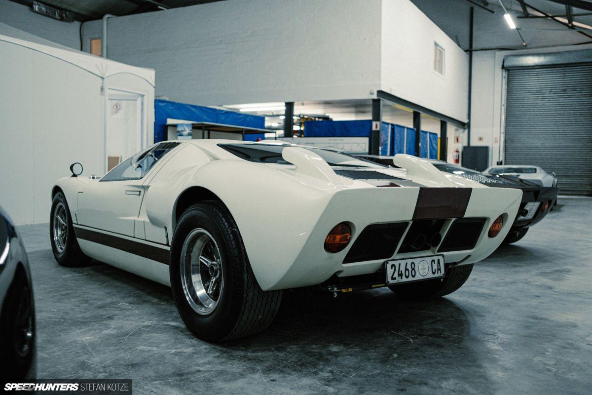 "CAV Ford GT40 replica manufacturer builder factory wimbledone white red stripe 15"" halibrand wheel"
